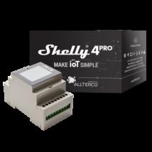 Shelly 4 Pro négy áramkörös, WiFi-s okosvezérlés / okosrelé, fogyasztásméréssel (DIN-sín kompatibilis)