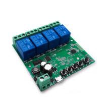 SmartWise 5V-32V » Négy áramkörös, WiFi-s - Sonoff kompatibilis, távvezérelhető okos kapcsoló relé, kontakt kapcsolással és impulzus kapcsolási üzemmóddal