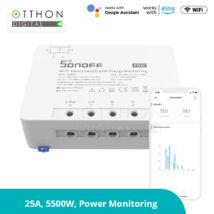 Sonoff POW (R3) WiFi-s, internetről távvezérelhető okosrelé (25A / 5500W), áramfogyasztás-mérővel, túlfeszültség-védelemmel