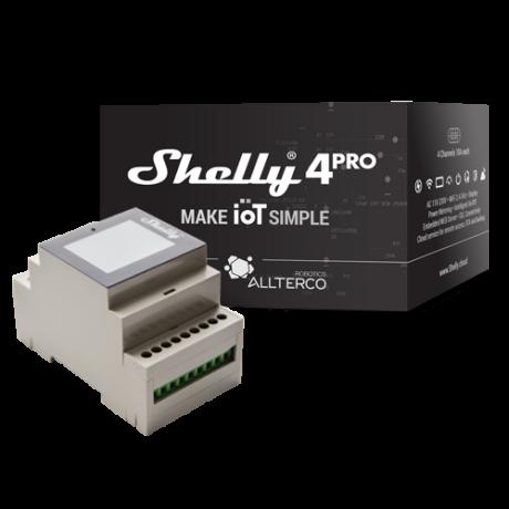 """<strong>Shelly 4 Pro</strong><br><p style=""""font-size:0.8EM"""">Négycsatornás, képernyős WiFi-s okosvezérlés / okosrelé, fogyasztásméréssel (DIN-sín kompatibilis)</p>"""