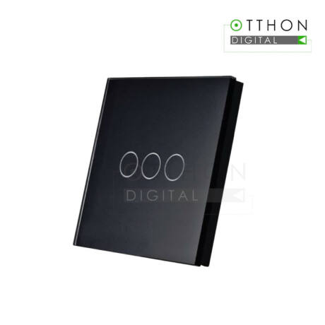SmartWise T1R3B (R2) hármas/csillár RF (rádiós) fali kapcsoló (fekete)