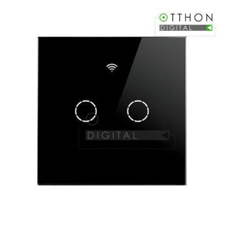 SmartWise T4 EU 2C fekete WiFi+RF, távvezérelhető, érintős okos 2 áramkörös csillárkapcsoló (csak fázisvezetéket igényel)
