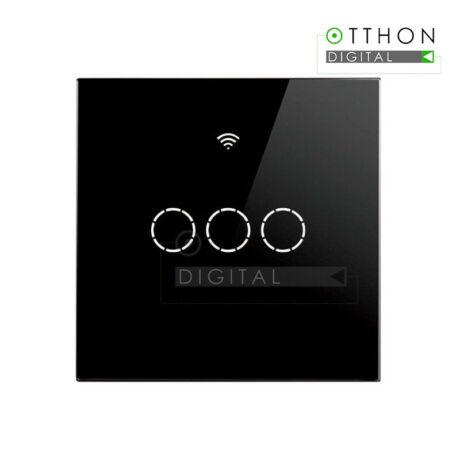 SmartWise T4 EU 3C fekete WiFi+RF, távvezérelhető, érintős okos 3 áramkörös csillárkapcsoló (csak fázisvezetéket igényel)