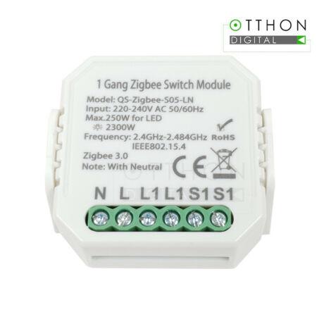 SmartWise Zigbee 230V relé egy áramkörös, kapcsolóbemenettel (eWeLink és Tuya kompatibilis)