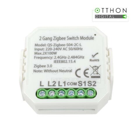 SmartWise Zigbee 230V relé két áramkörös, csak fázissal működő, kapcsolóbemenettel (eWeLink és Tuya kompatibilis)