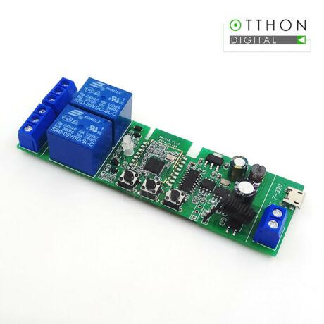 SmartWise 5V-32V két áramkörös, Zigbee + RF NO/NC okosrelé, kontakt kapcsolással, impulzus üzemmóddal
