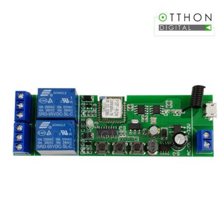 SmartWise 5V-32V két áramkörös WiFi + RF-es, Sonoff kompatibilis, távvezérelhető okos kapcsoló relé, kontakt kapcsolással és impulzus kapcsolási üzemmóddal