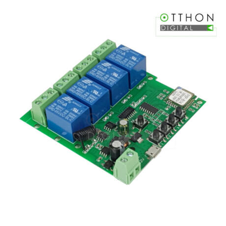 SmartWise 5V-32V négy áramkörös WiFi + RF-es, Sonoff kompatibilis, távvezérelhető okos kapcsoló relé, kontakt kapcsolással és impulzus kapcsolási üzemmóddal (R2)