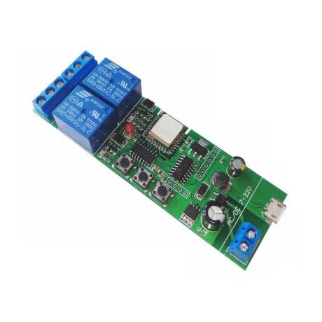 <strong>SmartWise 5V-32V két áramkörös, WiFi-s</strong><br>Sonoff kompatibilis, távvezérelhető okos kapcsoló relé, kontakt kapcsolással és impulzus kapcsolási üzemmóddal