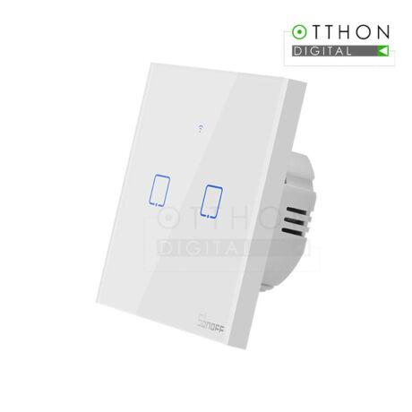 Sonoff TX T1 EU 2C WiFi + RF vezérlésű, távvezérelhető, érintős dupla/csillár villanykapcsoló