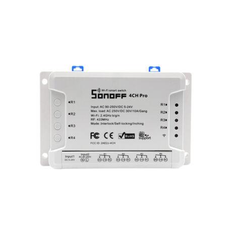 Sonoff RF 4CH PRO R3 » WiFi + RF, internetről távvezérelhető kapcsoló relé négy áramkörhöz, impulzuskapcsolással