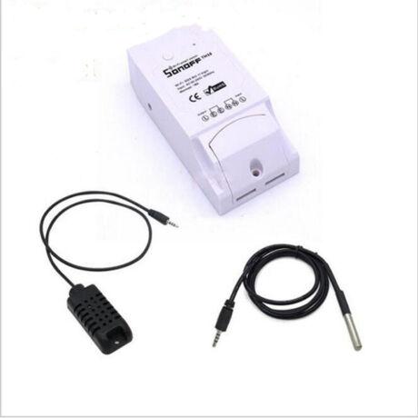 Sonoff TH 16A- WiFi vezeték nélküli intelligens kapcsoló hőmérséklet és páratartalom csatlakozóval
