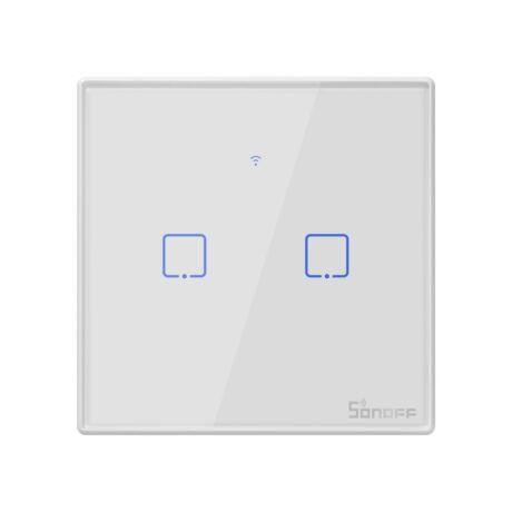 Sonoff TX T2 EU 2C  WiFi + RF vezérlésű, távvezérelhető, érintős 2-es villanykapcsoló (fehér)