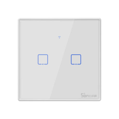 <strong>Sonoff TX T2 EU 2C</strong><br>WiFi + RF vezérlésű, távvezérelhető, érintős dupla/csillár villanykapcsoló (fehér, kerettel)