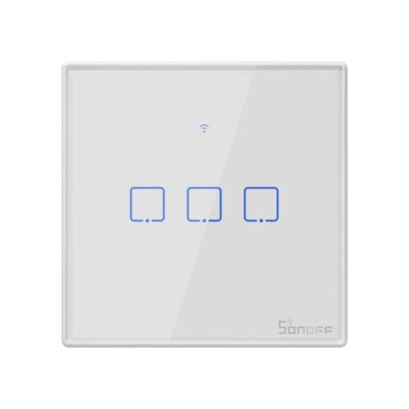Sonoff TX T2 EU 3C  WiFi + RF vezérlésű, távvezérelhető, érintős 3-as villanykapcsoló (fehér)