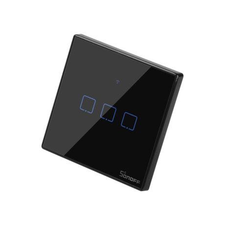 <strong>Sonoff TX T3 EU 3C</strong><br>WiFi + RF vezérlésű, távvezérelhető, érintős hármas csillár villanykapcsoló (fekete)